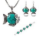 Buy Hot 3 Color Fashion Lovely Fish Turquoise Pendant Necklace Drop Earring Bracelet Wedding Jewelry Set