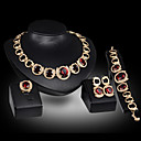 Buy Lucky Doll Women's Vintage Crystal 18K Gold Plated Zirconia Drop Necklace & Earrings Bracelet Ring Jewelry Sets