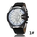 Buy Men's Casual j Quartz Watch Fake Three Large Dial Leather Strap Sports Series Wrist Cool Unique