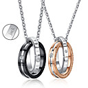 Buy Personalized Jewelry Valentine's Day Gift Lovers' Titanium Steel Gold/Black Necklace (One Pair)