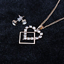 Buy Miss ROSE®Zircon Heart Earrings & Necklace Jewelry Set