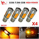 4X yellow High Power BAU15S 1156PY 7.5W Tail Brake Signal LED Light bulbs 7507