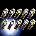 10 x CANbus foutloos witte T10 5-SMD 5050 interieur LED-lampen W5W 194 168