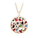 Buy HKTC Valentine's Exaggerated Colourful Crystal Flowers Round Pendant Necklaces 18K Rose Gold Plated Fashion Jewelry