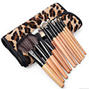 Buy 1Professional Natural Wooden Handle Cosmetic Make Makeup Powder Brush Brushes Set Leopard Case