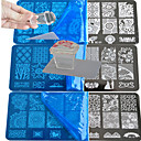 Buy 1 Lace Stamping Plate Polish Nail Art Transfer Template Square Transparent Stamp BC1-10