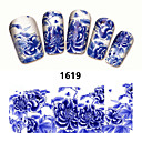 Buy 2Sheet New Nail Art Full Cover Blue Flower Stickers Decals Water Transfer Wraps Decorations Manicure Care Tools
