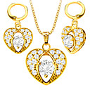 Buy Heart-shaped zircon Necklace earrings Fashion Jewelry Set 18K Gold Plated girl Gift S20175