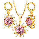 Buy Crystal Necklace Earrings Jewelry Sets Trendy 18K Gold Plated Fashion Brand Zircon Set Women Party Gift S20066