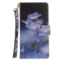Buy Painted Blue Flowers Pattern Card Can Lanyard PU Phone Case Huawei P9 Lite P8