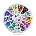 Buy 4mm Nail Art Tips Sharp Glitter Crystal AB Colors Rhinestone Decoration Wheel