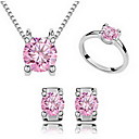 Buy Jewelry 1 Necklace Pair Earrings Rings Crystal Party Alloy 1set Women Blue Pink Wedding Gifts