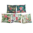 Buy Set 5 Flamingo Tropical Plants pattern Linen Pillow Case Bedroom Euro Covers 18x18 inches Cushion cover
