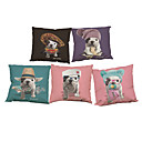 Buy Set 5 Cute Bulldogs pattern Linen Pillow Case Bedroom Euro Covers 18x18 inches Cushion cover