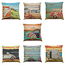 Buy Set 7 Oil painting car Linen Cushion Cover Home Office Sofa Square Pillow Case Decorative Covers Pillowcases