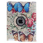 Perhonen Roses Pattern 360 astetta kääntyvä PU Leather Full Body Case jalusta iPad 2/3/4
