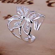 반지 결혼식 일상 보석류 크리스탈 여성 약혼 반지 1PC,조절가능 실버