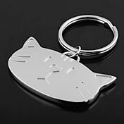 개인 새겨진 선물 고양이 머리 모양의 열쇠 고리