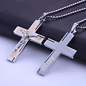 개인 선물 스테인리스 보석 성경 크로스 60cm 체인이 새겨진 펜던트 목걸이를 형성했다