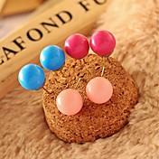 스터드 귀걸이 아크릴 합금 로즈 레드 그린 핑크 네이비 보석류 용 일상
