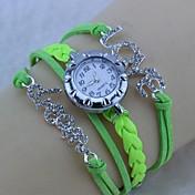 모조 다이아몬드 편지 사랑과 꿈 팔찌 시계 (모듬 된 색상)와 남녀의 라운드 PU 로프