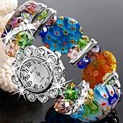 아가씨들 드레스 시계 패션 시계 팔찌 시계 석영 Plastic 밴드 스파클 꽃패턴 뱅글 멀티컬러 그린
