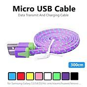 삼성 전자와 다른 전화 (모듬 색상)에 대한 3m V8 마이크로 USB 강력 나일론 국수 데이터 케이블