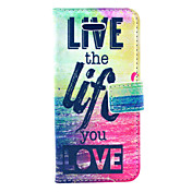 Live Life You Love Pattern PU Leather Case Cover with Stand and Card Holder for iPhone 5C