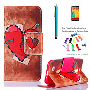 용 카드 홀더 / 지갑 / 스탠드 / 플립 / 패턴 케이스 풀 바디 케이스 심장 하드 인조 가죽 Samsung S4