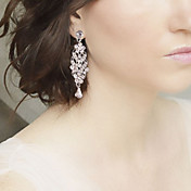 드랍 귀걸이 크리스탈 모조 진주 라인석 은 도금 합금 보석류 용 결혼식 파티 1PC