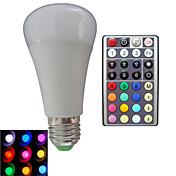 10W E26/E27 LED 글로브 전구 A80 3PCS 고성능 LED RGB lm RGB 밝기 조절 / 리모컨 작동 / 장식 AC 85-265 V 1개