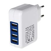 4000mA de cuatro puertos de alimentación USB adaptador / cargador (100 ~ 240v enchufe / eu)