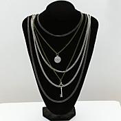 Mujer Collares en capas Cristal La imitación de diamante 18K de oro Moda Joyas