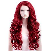캡이 빨간색 여분의 긴 고품질의 천연 곱슬 합성 가발