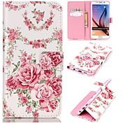 Para Funda Samsung Galaxy Soporte de Coche / Cartera / con Soporte / Flip Funda Cuerpo Entero Funda Flor Cuero Sintético SamsungS6 edge