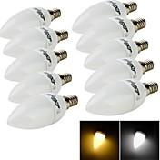 3W E14 LED 캔들 조명 C35 10 SMD 2835 200 lm 따뜻한 화이트 / 차가운 화이트 장식 AC 220-240 V 10개