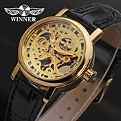 WINNER® Women's Hollow Style PU Analog Mechanical Wrist Watch (Black) Cool Watches Unique Watches Fashion Watch Strap Watch