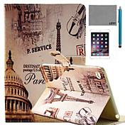 아이 패드 미니 4 화면 보호기 및 스타일러스 lexy® 파리 거리 패턴 PU 가죽 플립 스탠드 케이스