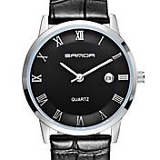 Hombre Reloj de Pulsera Cuarzo Cuarzo Japonés Calendario Resistente al Agua Piel Banda Negro MarrónNegro Negro/blanco Oro/Blanco