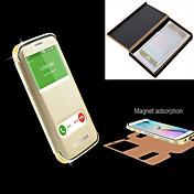Para Funda Samsung Galaxy Diamantes Sintéticos / con Ventana / Flip Funda Cuerpo Entero Funda Un Color Metal Samsung S6 edge plus