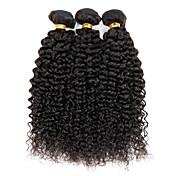 인모 브라질리언 헤어 인간의 머리 직조 Kinky Curly 컬리 위브 헤어 익스텐션 3 개 블랙 자연 색상