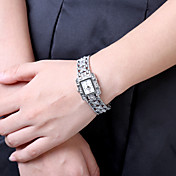 Mujer Reloj de Moda Cuarzo Acero Inoxidable Banda Encanto Negro Blanco Blanco Negro