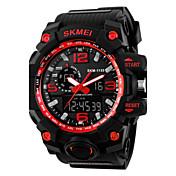 SKMEI 남성 손목 시계 디지털 시계 LCD 달력 크로노그래프 방수 듀얼 타임 존 경보 석영 디지털 일본 쿼츠 고무 밴드 블랙