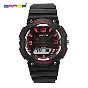 SANDA Hombre Mujer Reloj Deportivo Reloj de Pulsera Digital LCD Cronógrafo Resistente al Agua Dos Husos Horarios Reloj Deportivo PU Banda