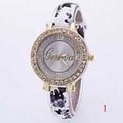 여성용 패션 시계 모조 다이아몬드 시계 석영 가죽 밴드 멀티컬러