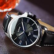 YAZOLE 남성용 드레스 시계 석영 캐쥬얼 시계 야광 가죽 밴드 블랙 브라운