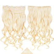 합성 머리 # 613 금발의 색 긴 곱슬 물결 모양의 머리 확장 고온 섬유 패션 코스프레 헤어 클립