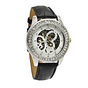 WINNER Mujer El reloj mecánico Cuerda Manual Banda Destello Negro Blanco Negro