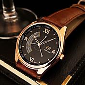 YAZOLE Hombre Reloj de Vestir Cuarzo Reloj Casual Piel Banda Negro Marrón Negro Marrón