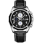 MEGIR 남성 스포츠 시계 드레스 시계 손목 시계 석영 달력 크로노그래프 / 가죽 밴드 캐쥬얼 블랙 브라운
